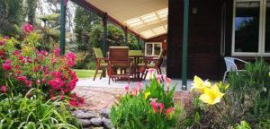 View through gardens onto terrace