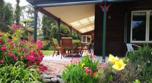 Beautiful flowers surround the Awatuna Homestead Terrace
